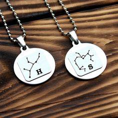 Constellation necklace, Zodiac Jewelry, Astrology Zodiac necklace, initial couples necklace, letter couples necklace, birth sign necklace
