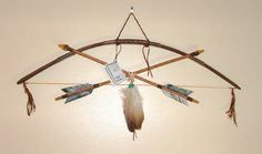Little Scout Bow & Arrows Native American made Frog totem A nice smaller sized bow & arrow wall display. Native American made for just 69.95 with FREE SHIPPING #nativeamerican #bow #arrow