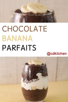 Made with milk, chocolate pudding mix, bananas, whipped topping | CDKitchen.com