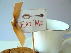 Eat Me Cupcake Toppers - Food Picks - Alice in Wonderland - Tea Party - Wedding - Set of 12. $18.00, via Etsy.