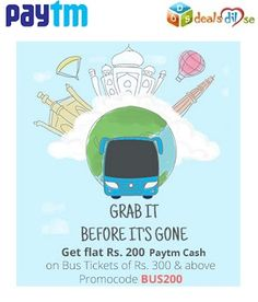 Flat Rs 200 Cashback on Bus Bookings of Rs 300 and more