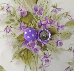 Fabric Covered Button Earring / Purple / Polka by ManhattanHippy