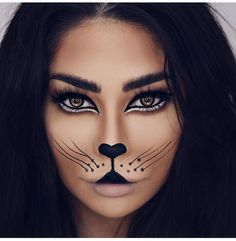 Are you looking for inspiration for your Halloween make-up? Browse around this site for cute Halloween makeup looks. Leopard Makeup, Animal Makeup, Mauve Makeup, Chanel Makeup, Halloween Makeup Clown, Scary Halloween, Halloween Make Up Cat, Leopard Halloween Makeup, Simple Halloween Makeup