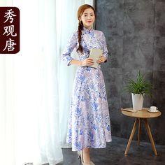 Attractive Modern Long A-line Qipao Chemonsam Dress - Qipao Cheongsam & Dresses - Women