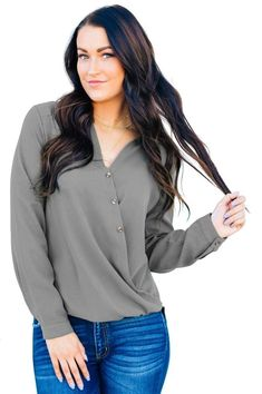 Surplice Button Trio Top looks simple but unusual,it's elegant and stylish from the design and colors,wholesale from dear-lover. Jumper Shirt, Beautiful Blouses, Jumpers For Women, Black Tops, Couture, Long Sleeve, Fashion Styles, Latest Fashion, Fashion 2018