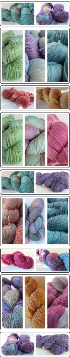SpaceCadet Creations yarns for the Color Affection shawl and other designs by Veera Välimäki.