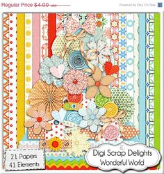 Digital Scrapbooking: Wonderful World Scrapbook Kit (Red, Orange, Pink, Green) Buy 2 Get 1 Free Special