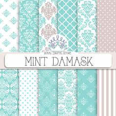 "Damask Digital Paper: "" Mint Damask Digital Paper"" with mint damask background, mint damask patterns, mint damask textures"