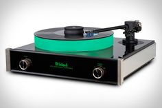 The McIntosh MT5 Turntable ($6,500) is the pinnacle of musical performance, with perfectly-engineered components that let you hear your albums, not the player. It features the distinct neon green display that has come to represent McIntosh, while a luminous platter invites attention every time you place a record on it. The precise belt-drive motor operates at three speeds, spinning the platter quietly, while a magnetic tone arm is completely stable, and resists skips and scratches.