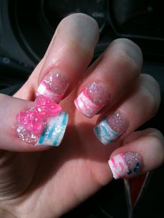 Zebra pink and blue nails