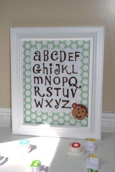 Little Boy or Girl Room Decor Art for Children Baby Boy or Girl or Toddler Nursery Art Alphabet Monkey 11x14- Alphabet Letters. $38.00, via Etsy.