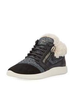 45d2765fbad Giuseppe Zanotti Faux-Fur High-Top Trainer Sneakers