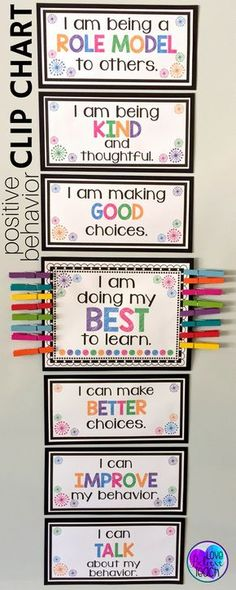 A clip chart with a twist! Behavior management is a snap with this behavior chart. Whole-class and individual clip charts mixed with brag tags make your classroom management easy to maintain day after day. Click Read more… Classroom Behavior Management, Behaviour Management, Behaviour Chart Classroom, Behavior Plans, Positive Behavior Chart, Classroom Charts, Behavior Chart Preschool, School Behavior Chart, Preschool Charts