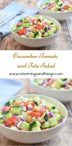 A refreshing summer salad made with crisp cucumbers, tomatoes, garbanzo beans and crumbled feta; all doused in red wine vinaigrette