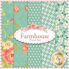 "Farmhouse 5 FQ Set - Pond Set by Fig Tree Quilts for Moda Fabrics: Farmhouse is a collection by Fig Tree Quilts for Moda Fabrics. This set contains 5 fat quarters, each measuring approximately 18""x21"""