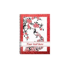 #Black, #red #peacock and #cherryblossoms #notebook