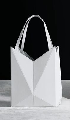 White Geometric Handbag with faceted design // Finell