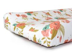 Floral changing pad cover BROOKLYN BLOOMS baby by NewMomDesigns