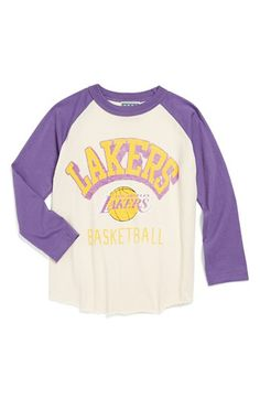 Junk Food  Los Angeles Lakers  Raglan Long Sleeve T-Shirt (Toddler Boys)  7ea925c42