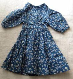 19thC Blue Calico Doll Dress