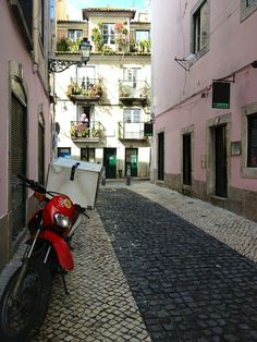 Charming cobbled streets of Bairro Alto Lisbon, Around The Worlds, Landscape, Street, Landscape Paintings