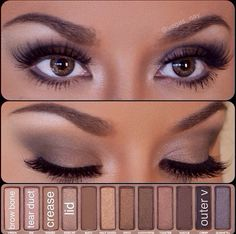 Naked 1 palette urban decay eye shadow tutorial how to, day or night look :)