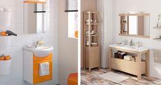 Os móveis da casa de banho também desempenham um papel importante na sua decoração. Se pretende decorar uma casa de banho ou quer subst... Double Vanity, Bathroom, Storage, Inspiration, Furniture, Home Decor, Small Bathrooms, Restroom Decoration, October