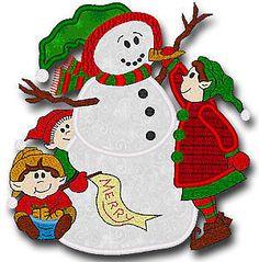Elves Snowman Single Machine Embroidery Applique Design