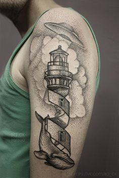 Not sure about the UFO, but I like the tower part of the lighthouse on this one and that pointillism effect