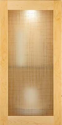 """Glass kitchen cabinet door, by KraftMaid, """"Linen"""" Etched tempered glass with clear linen weave design."""