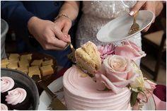Light pink wedding cake and cupcakes. Nassau Valley Vineyard Delaware Wedding. Laura's Focus Photography.