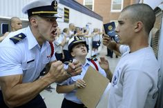 U.S. Coast Guard Academy Cadets Second Class Aurimas Juodka, left, and Sheila Bertrand with prospective cadet, or 'swab,' Kevin Lennox at Bravo Company's reporting-in day. Monday began the seven-week 'Swab Summer' for the class of 2018, in New London, Conn., where 250 prospective cadets start the program designed to indoctrinate them to the military life, July 2014