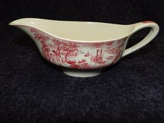 Johnson Brothers Historic America Red Gravy Boat Low Water on the Mississippi #JohnsonBros