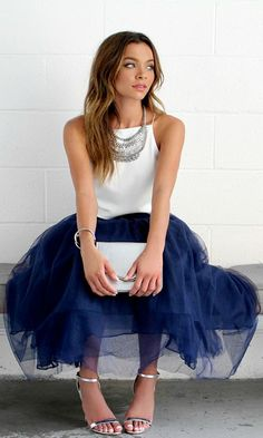 Navy Tulle skirt and gorgeous white halter top