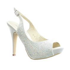 slingback+wedding+shoe | ... GEM EMBELLISHED SLINGBACK SATIN PEEP TOE WEDDING PROM SHOES SIZE 3-8