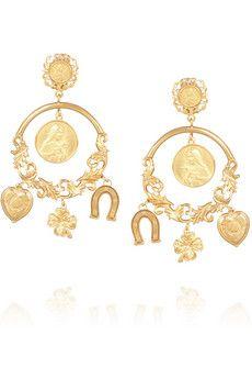 Dolce & Gabbana Gold-tone clip earrings $925 | NET-A-PORTER