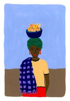 Transkei Fruit Seller-  Illustration of a fruit seller in the Transkei region of South Africa .    Copyright Tara Deacon 2018