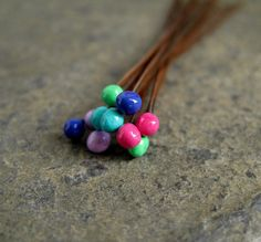Copper Ball Headpins colored ball headpins by CinnamonJewellery,