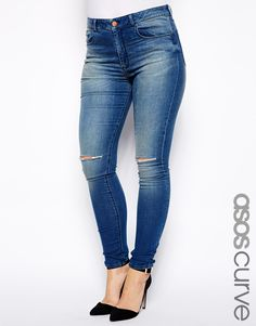 Plus size jeans by ASOS CURVE Made from. super soft high-stretch denim. Stretch added for comfort and fit. Ultra skinny fit through the leg. Contoured bottom lifting back pockets. Figure flattering high-rise.