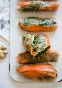 Ginger-Peanut Power Up Greens Salad Rolls. Brown Rice Wraps!