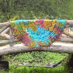 Tie Dye Rangoli Ombre Large Roundie - Multicolor Pom Pom Border