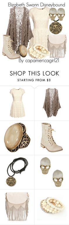 """Elizabeth Swann Disneybound"" by capamericagirl21 ❤ liked on Polyvore featuring H&M, Mes Demoiselles..., Accessorize, dELiA*s, Topshop and Sole Society"