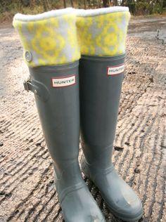 SLUGS Fleece Rain Boot Liners Grey With Neon Tribal Western Cuff, Gifts Under 25, Winter Fashion, Wellington Boot Socks (SM/MED 6-8 Boot). $24.00, via Etsy.