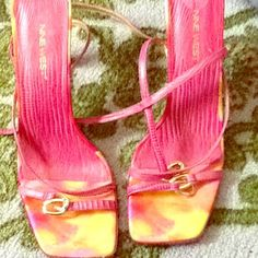 Pink and yellow design sandals high heel. Ninewest sandals size 10 pink and yellow great condition. Ninewest Shoes Sandals