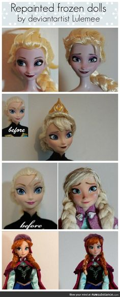 Repainted Frozen Dolls before and after omggg // this talent is priceless! Where is the artist at??? We are best friends