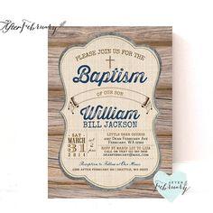 Invitación del bautismo de niño / / país por AfterFebruary en Etsy