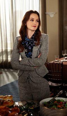 Love Blair's grey suit and blouse