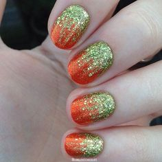 42 Pretty Thanksgiving Nail Art Design Ideas To Look Charming When Spending Time With Family Nail Art Designs 2016, Ombre Nail Designs, Fall Nail Designs, Glitter Gradient Nails, Acrylic Nails, Glitter Hair, Fancy Nails, Pretty Nails, Gel Nagel Design