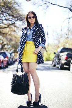 yellow paperbag Forever 21 skirt - blue polka dot Forever 21 jacket