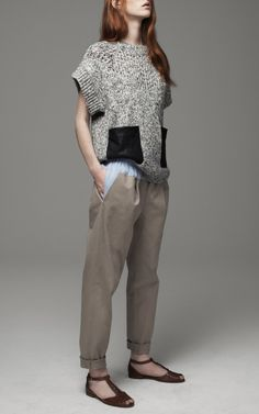Leather pocket sweater, Thakoon Addition